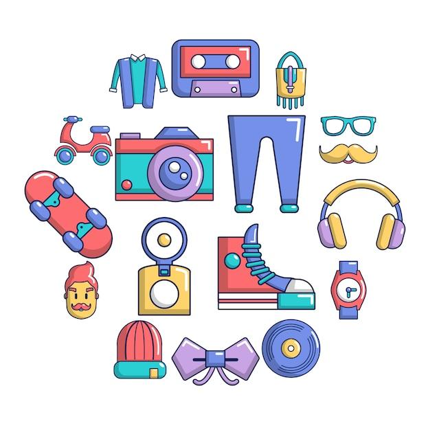 Jeu d'icônes de symboles hipster, style cartoon Vecteur Premium