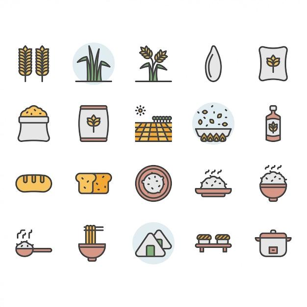 Jeu D'icônes Et De Symboles De Riz Vecteur Premium
