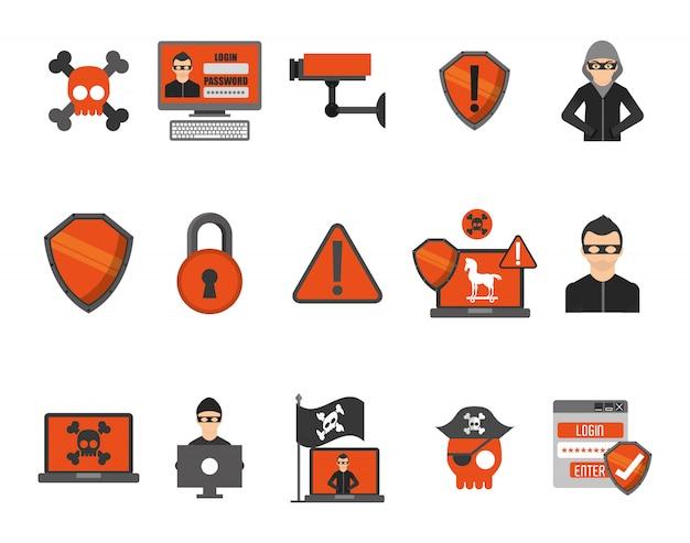 Jeu d'icônes de système de sécurité Vecteur gratuit