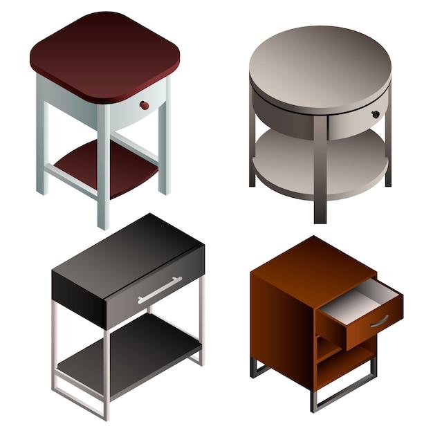 Jeu d'icônes de table de chevet. set isométrique de table de chevet Vecteur Premium