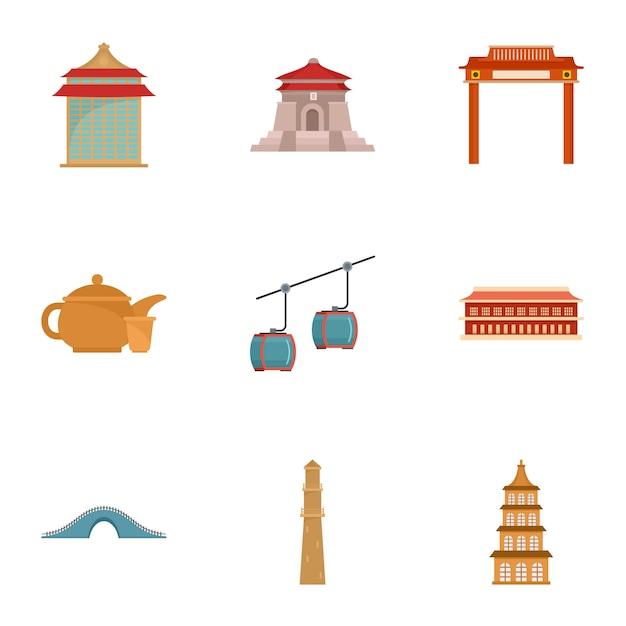 Jeu D'icônes De Taiwan, Style Plat Vecteur Premium