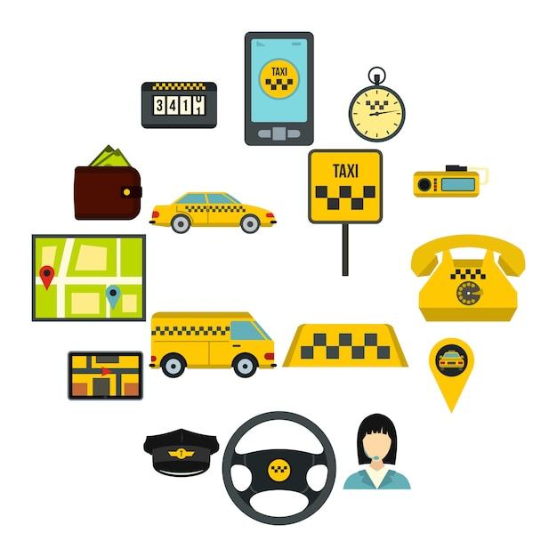 Jeu D'icônes De Taxi, Style Plat Vecteur Premium