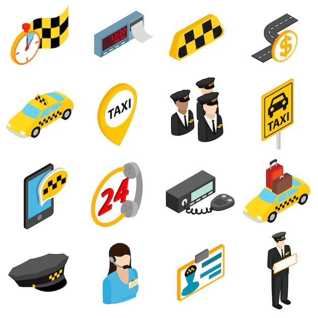 Jeu d'icônes de taxi Vecteur Premium