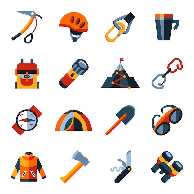 Jeu d'icônes de technologie d'alpinisme Vecteur Premium