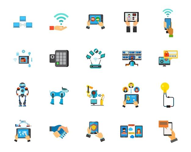 Jeu d'icônes de technologie Vecteur gratuit