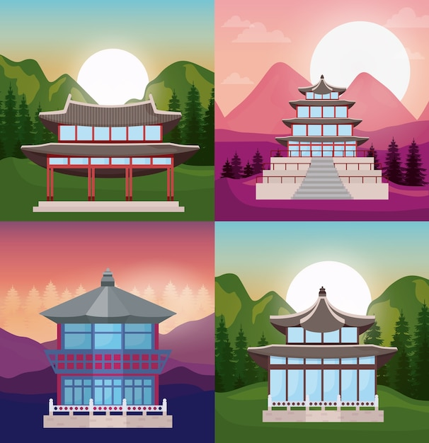 Jeu d'icônes de temples d'asie Vecteur Premium