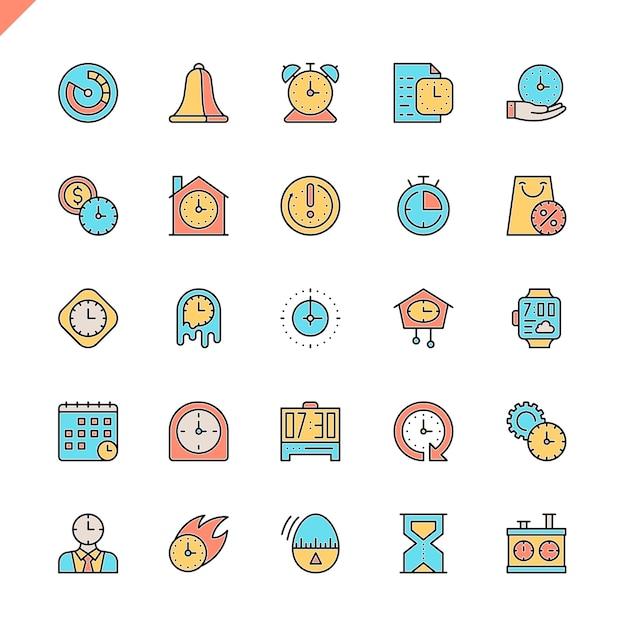 Jeu d'icônes de temps ligne plate Vecteur Premium