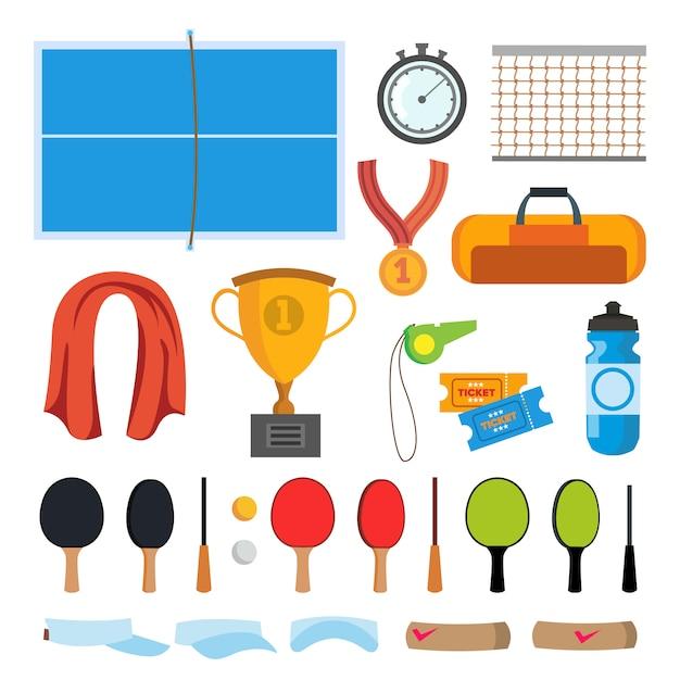 Jeu d'icônes de tennis de table Vecteur Premium