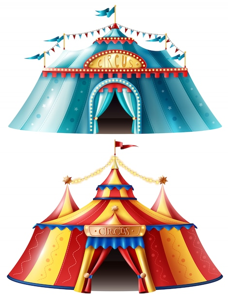 Jeu d'icônes de tente de cirque réaliste Vecteur gratuit