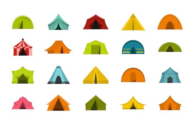 Jeu d'icônes de tente. ensemble plat de collection d'icônes vectorielles tente isolée Vecteur Premium