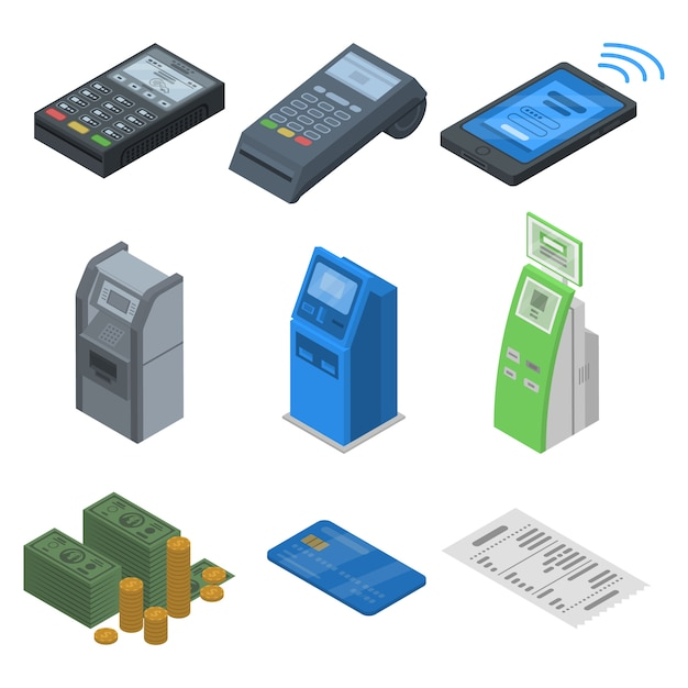 Jeu d'icônes de terminal bancaire. isométrique ensemble d'icônes de vecteur terminal bancaire pour la conception web isolée sur fond blanc Vecteur Premium