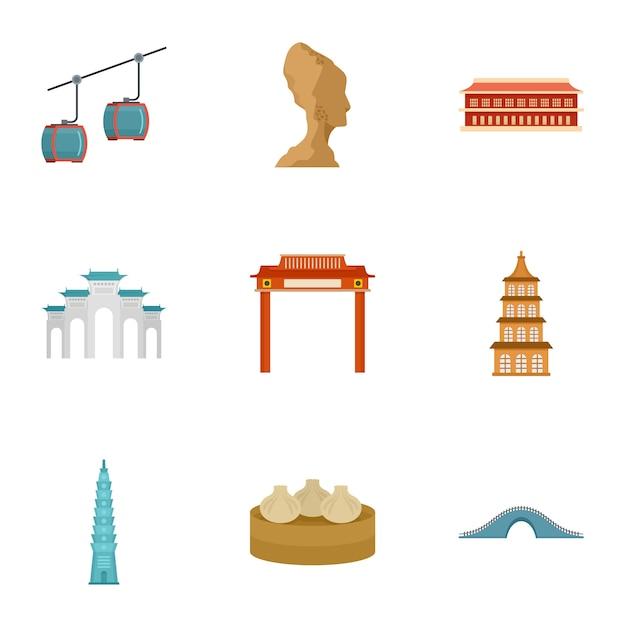 Jeu d'icônes de thaïlande. ensemble plat de 9 icônes vectorielles de thaïlande Vecteur Premium
