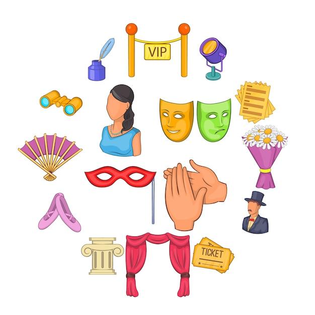 Jeu d'icônes de théâtre, style cartoon Vecteur Premium
