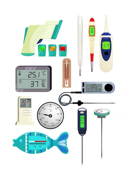 Jeu d'icônes de thermomètre Vecteur gratuit