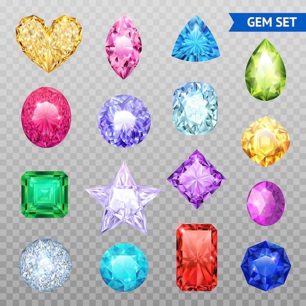 Jeu d'icônes transparentes colorées de pierres précieuses et isolées, pierres précieuses chatoyantes et brillantes Vecteur gratuit