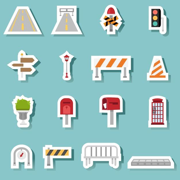 Jeu d'icônes de transport de trafic Vecteur Premium