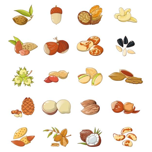 Jeu d'icônes de types de noix alimentaires Vecteur Premium