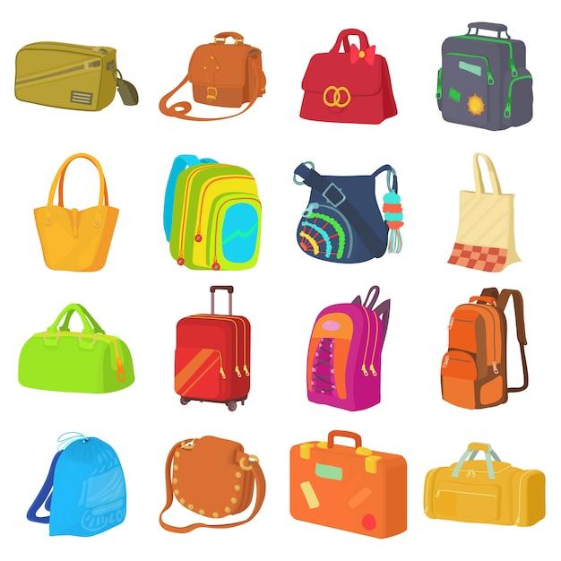 Jeu d'icônes de types de sac Vecteur Premium