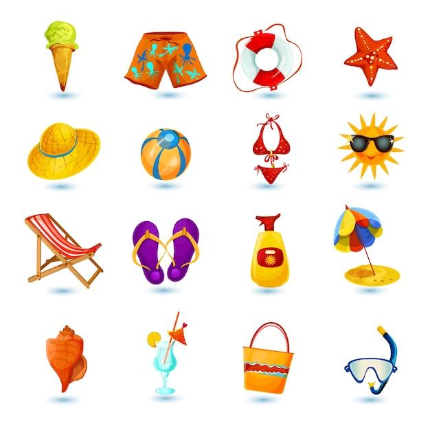 Jeu d'icônes de vacances d'été Vecteur gratuit