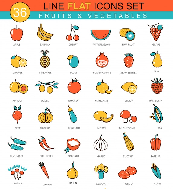 Jeu D'icônes Vectorielles Ligne Fruits Et Légumes Vecteur Premium