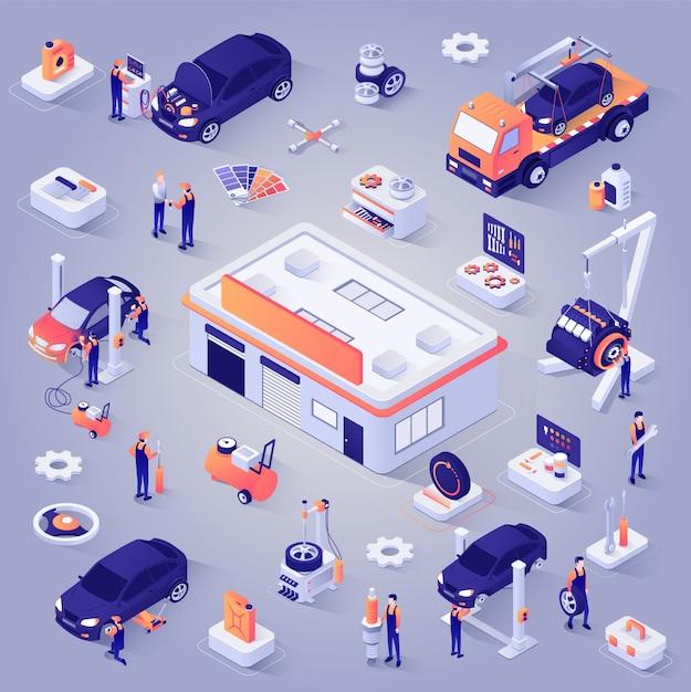 Jeu d'icônes vectorielles en voiture service isométrique projection Vecteur Premium