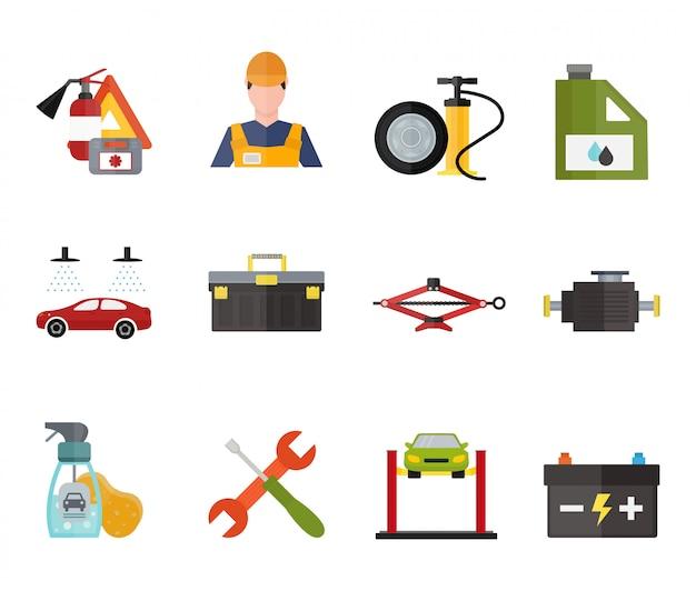 Jeu d'icônes vectorielles voiture service réparation Vecteur Premium