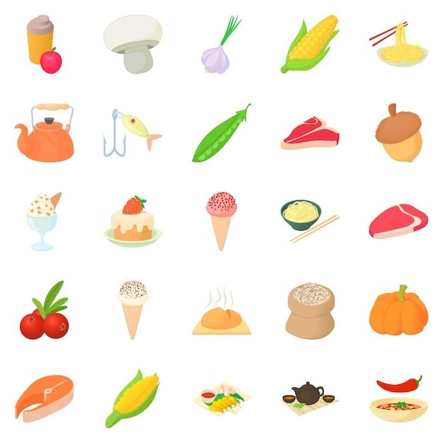 Jeu D'icônes Végétariennes, Style Cartoon Vecteur Premium