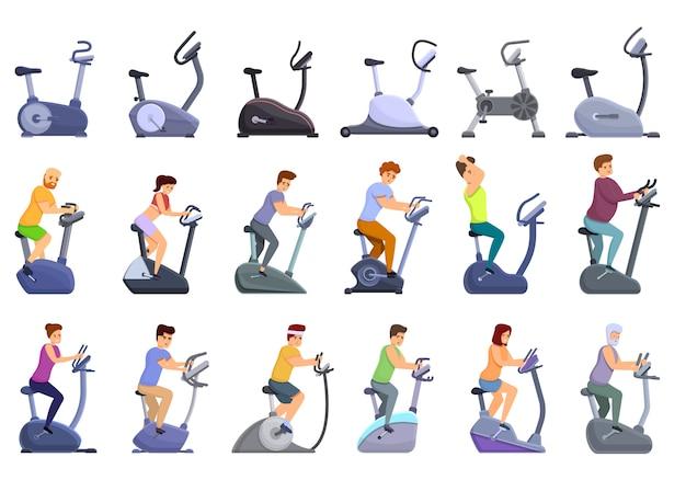 Jeu D'icônes De Vélo D'exercice, Style Cartoon Vecteur Premium