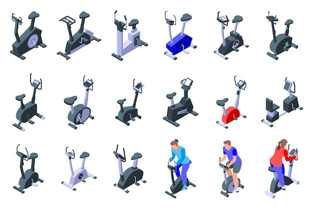 Jeu D'icônes De Vélo D'exercice, Style Isométrique Vecteur Premium