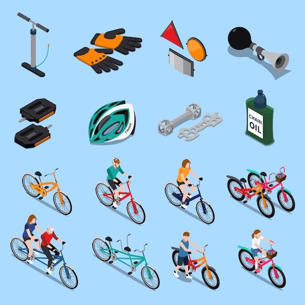 Jeu d'icônes de vélo isométrique Vecteur gratuit
