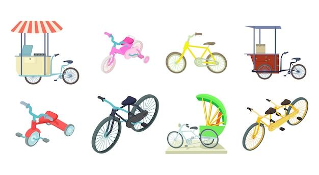 Jeu d'icônes de vélo Vecteur Premium