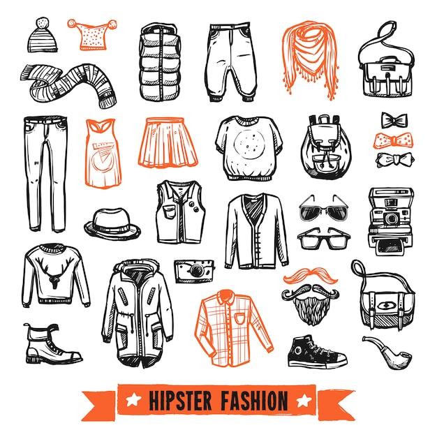 Jeu d'icônes de vêtements de mode hipster doodle Vecteur gratuit