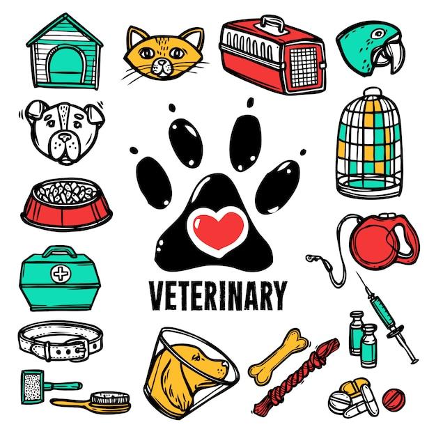 Jeu d'icônes vétérinaire Vecteur gratuit