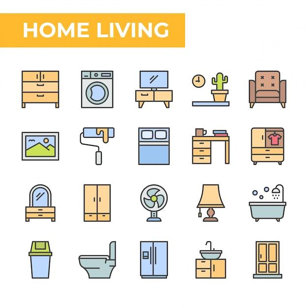Jeu d'icônes de vie à la maison, style coloré Vecteur Premium