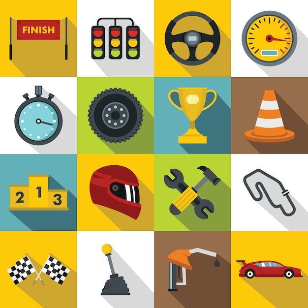 Jeu d'icônes de vitesse de course, style plat Vecteur Premium