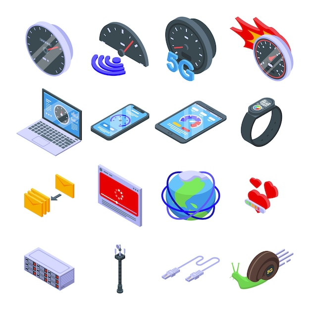 Jeu D'icônes De Vitesse Internet. Ensemble Isométrique D'icônes De Vitesse Internet Pour Le Web Isolé Sur Fond Blanc Vecteur Premium