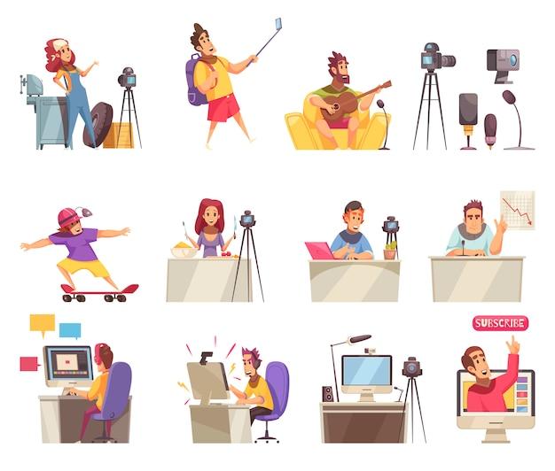 Jeu D'icônes De Vlogger En Ligne Vecteur gratuit