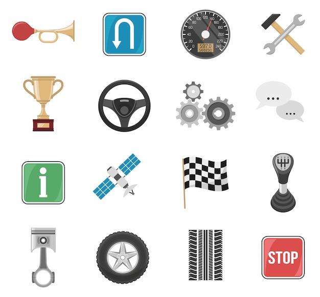 Jeu d'icônes de voiture de course Vecteur gratuit