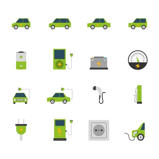 Jeu d'icônes de voiture électrique Vecteur gratuit