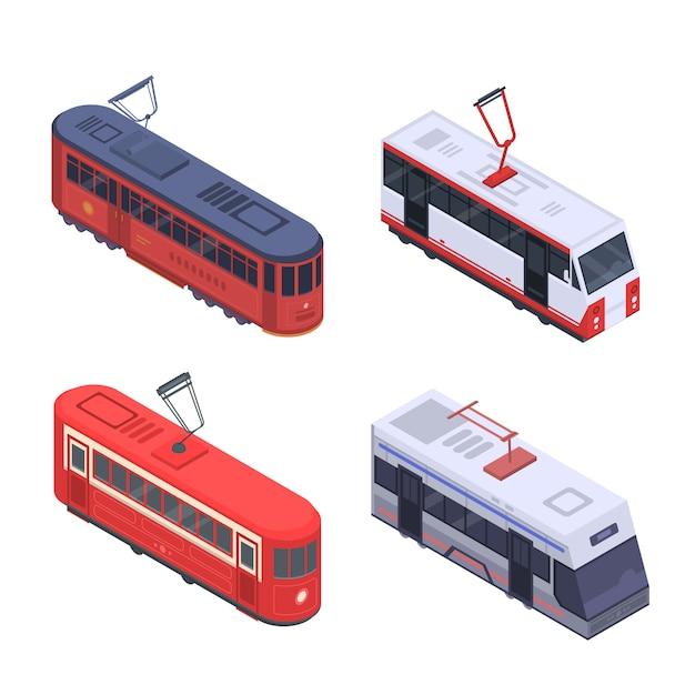 Jeu d'icônes de voiture de tramway. isométrique ensemble d'icônes vectorielles tram voiture pour la conception web isolée sur fond blanc Vecteur Premium