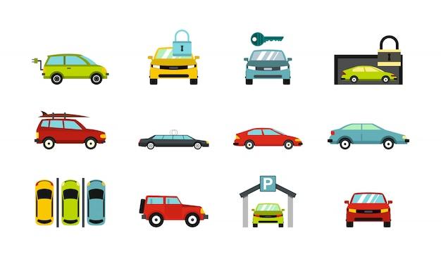 Jeu d'icônes de voitures. ensemble plat de voitures collection d'icônes vectorielles isolée Vecteur Premium
