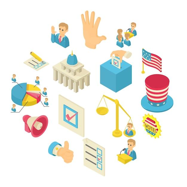 Jeu d'icônes de vote électoral, style isométrique Vecteur Premium