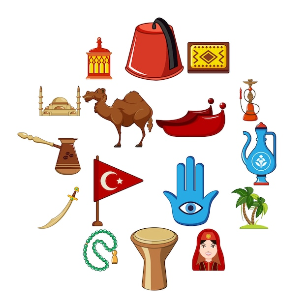 Jeu D'icônes De Voyage Turquie, Style Cartoon Vecteur Premium