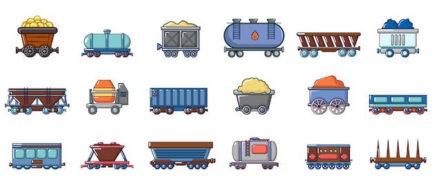 Jeu D'icônes De Wagon. Ensemble De Dessin Animé D'icônes Vectorielles Wagon Isolé Vecteur Premium