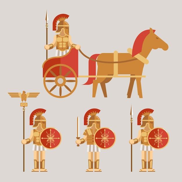 Jeu D'icônes De Wariors Antiques. Guerrier Sur Char Avec Lance Et Guerrier Avec épée Et Bouclier. Illustration Vectorielle Vecteur gratuit