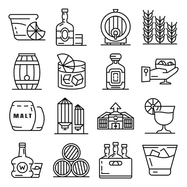Jeu d'icônes de whisky. ensemble de contour des icônes vectorielles de whisky Vecteur Premium