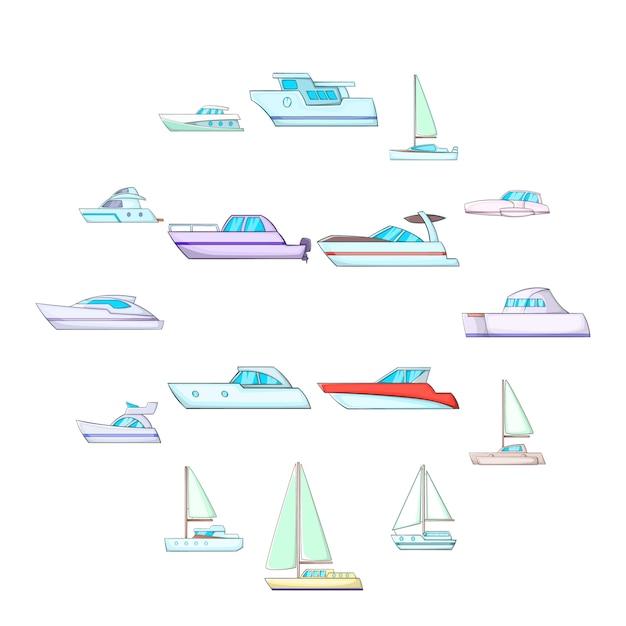 Jeu d'icônes de yachts, style cartoon Vecteur Premium