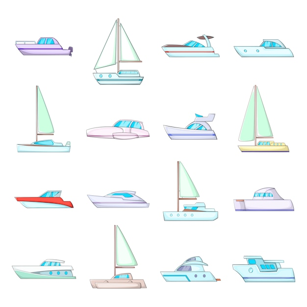 Jeu d'icônes de yachts Vecteur Premium