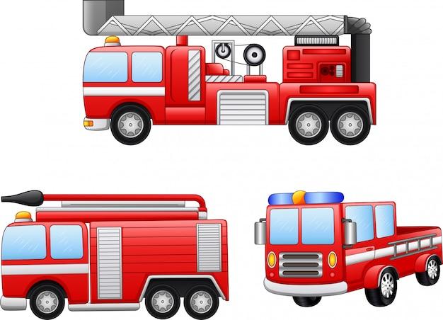Jeu D Illustration De Dessin Anime Camion De Pompiers Vecteur