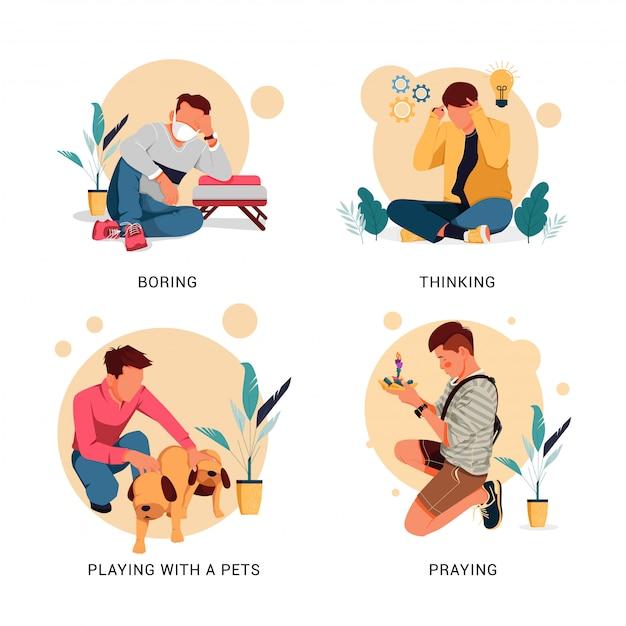 Jeu D'illustration Du Caractère De L'activité De L'homme, Concept De Design Plat Vecteur Premium